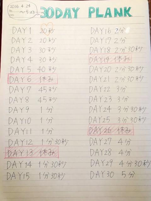 30daysプランクチャレンジプログラム予定表